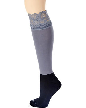 Boottights Women's Darby Lacie Lace Tights , Heather Grey, hi-res