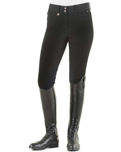 Ovation Women's Celebrity Euroweave DX Knee Patch Breeches, Black, hi-res