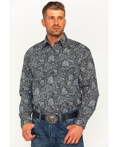 Rough Stock by Panhandle Men's Alsemberg Vintage Print Snap Shirt, Black, hi-res