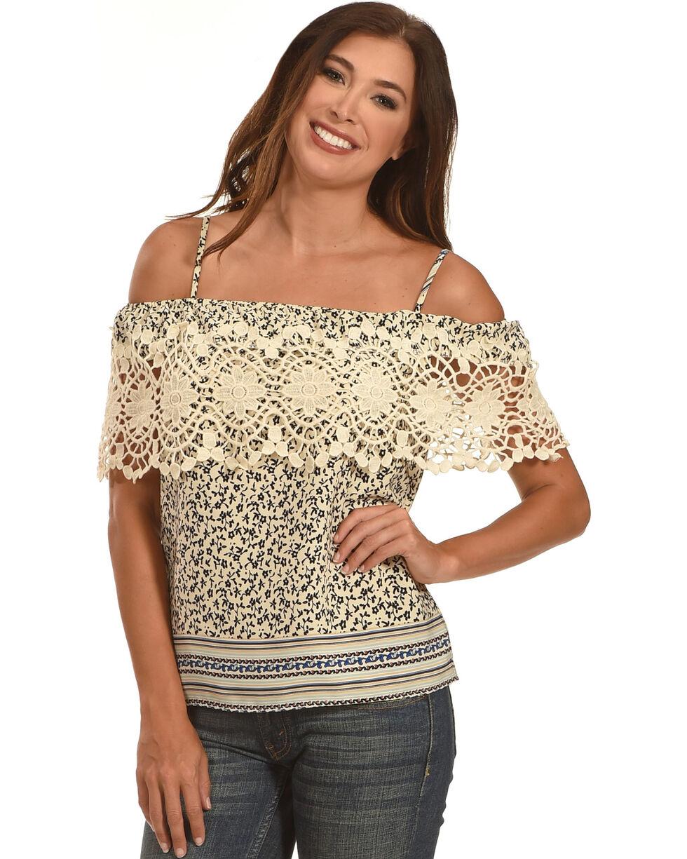 Ces Femme Women's Crochet Pattern Tank , Cream, hi-res