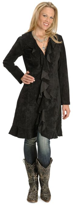 Scully Ruffle Suede Leather Long Jacket, , hi-res