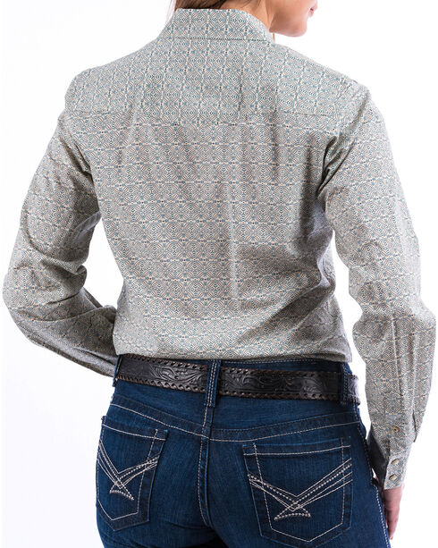 Cinch Women's Cream Geo Print Long Sleeve Shirt , Cream, hi-res