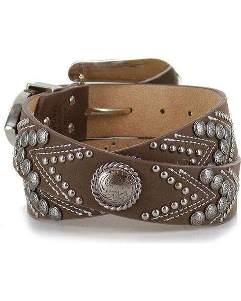 Angel Range Women's Concho Fashion Belt , Brown, hi-res