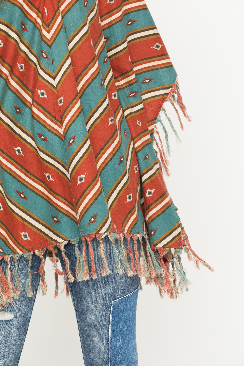 Ryan Michael Women's Serape Stripe Poncho, Chili, hi-res