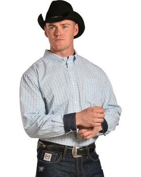 Cody James Men's Hawk Plaid Long Sleeve Button Down Shirt - Tall, White, hi-res