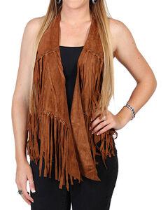 Vocal Women's Camel Faux Suede Fringe Vest, Camel, hi-res