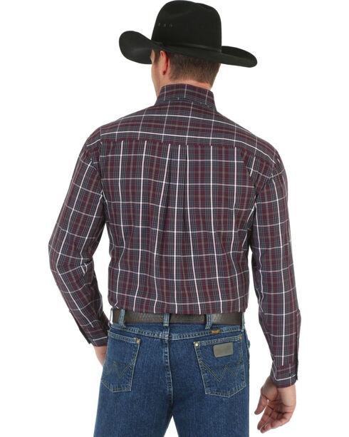 Wrangler George Strait Men's Navy Plaid Shirt, Wine, hi-res