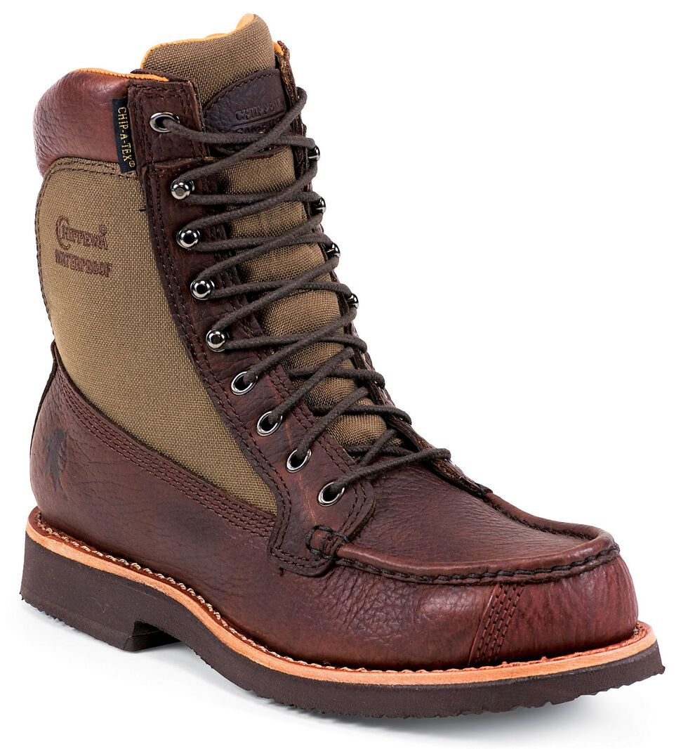 """Chippewa Waterproof 8"""" Lace-Up Work Boots - Mocc Toe, Brown, hi-res"""