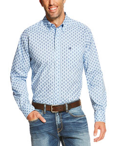 Ariat Men's Light Blue Raymer Long Sleeve Print Shirt , Light Blue, hi-res