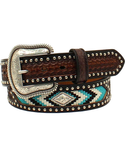 Nocona Men's Diamond Concho Nail Head Belt , Brown, hi-res
