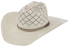 Justin Bent Rail Waddy Straw Cowboy Hat , Ivory, hi-res