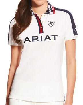 Ariat Women's White FEI New Team Polo, White, hi-res