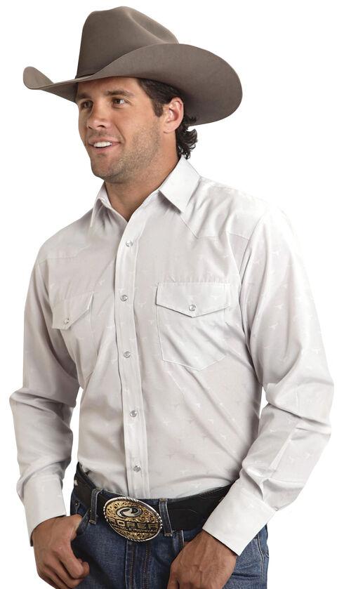 Roper Tone-on-Tone Steerhead Dobby Snap Shirt, White, hi-res