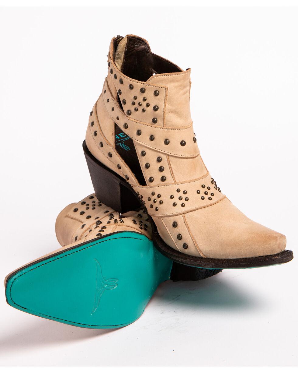 Lane Women's Cream Stud and Straps Fashion Boots - Snip Toe , Cream, hi-res