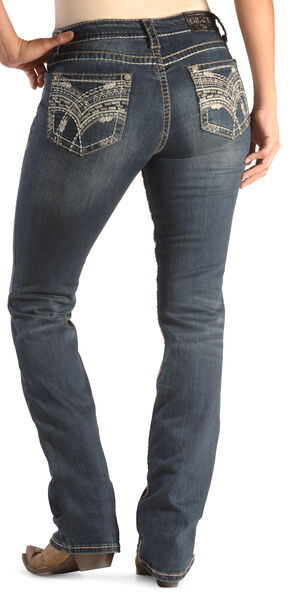 Grace in LA Women's Easy Fit Scroll Stitch Jeans - Bootcut , Denim, hi-res