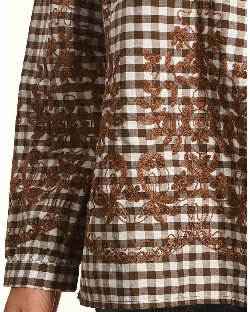 Young Essence Women's Off The Should Embroidered Gingham Top, Brown, hi-res