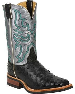 Justin Full Quill Ostrich Atomic Mercury Cowboy Boots - Square Toe, Black, hi-res