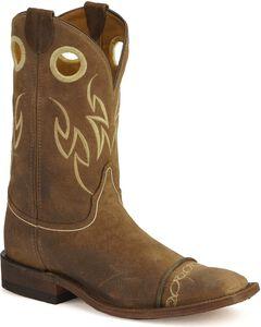 Justin Bent Rail Suede Testa Cowboy Boots- Wide Square Toe, , hi-res