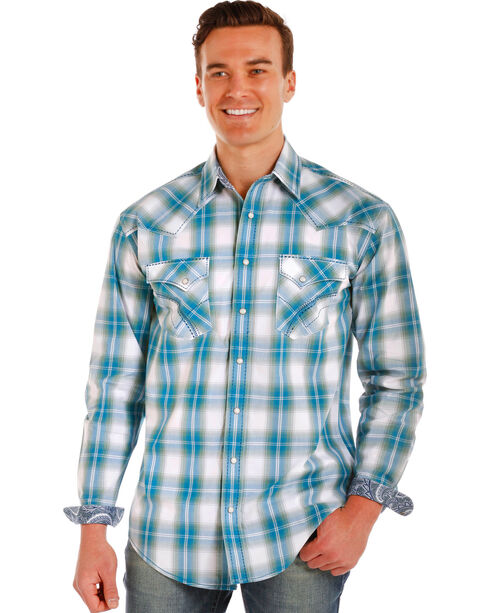 Rough Stock by Panhandle Men's Mapleton Ombre Plaid Long Sleeve Snap Shirt, , hi-res