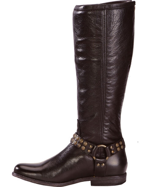 Frye Women's Phillip Studded Harness Riding Boots - Round Toe, Black, hi-res