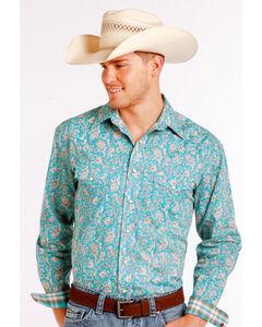 Rough Stock by Panhandle Men's Blue Rue Cavallion Vintage Print Long Sleeve Shirt , , hi-res