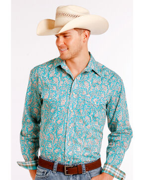 Rough Stock by Panhandle Men's Blue Rue Cavallion Vintage Print Long Sleeve Shirt , Blue, hi-res