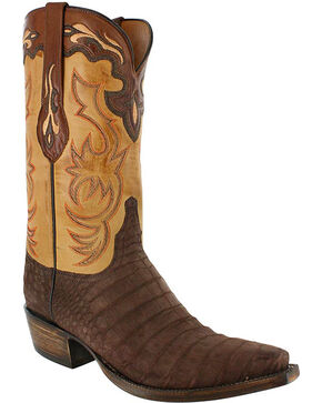 Lucchese Men's Exotic Caiman Western Boots, Navy, hi-res