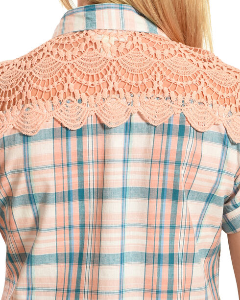 Henna Women's Blue Plaid Crochet Western Shirt, Peach, hi-res