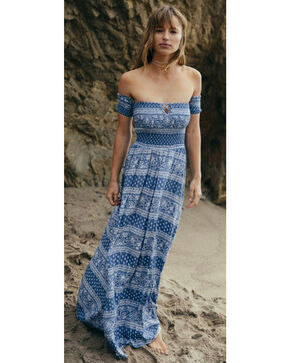 Sage the Label Women's Paisley Print Gemma Maxi Dress, Blue, hi-res