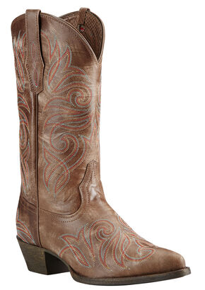 Ariat Brown Round Up Cowgirl Boots - Pointed Toe, Brown, hi-res