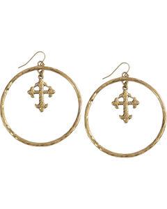 Shyanne Women's Cross Hoop Earrings , Gold, hi-res