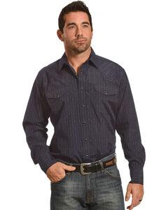 Panhandle Men's Navy Dobby Stripe Long Sleeve Western Shirt, Navy, hi-res