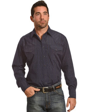 Panhandle Men's Navy Dobby Stripe Long Sleeve Western Shirt, Navy, hi-res