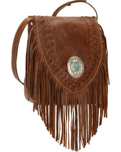 American West Seminole Collection Soft Fringe Crossbody Bag, Tobacco, hi-res