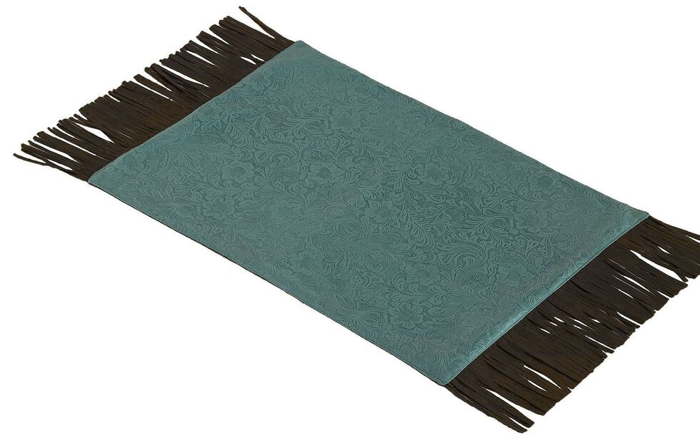 HiEnd Accents Turquoise Tooled Faux Leather Placemats, Turquoise, hi-res