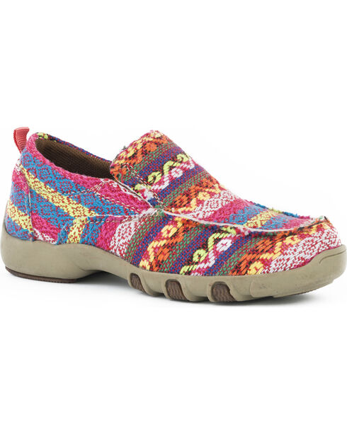 Roper Girls' Chase Multi-Colored Fabric Driving Mocs - Moc Toe, Pink, hi-res
