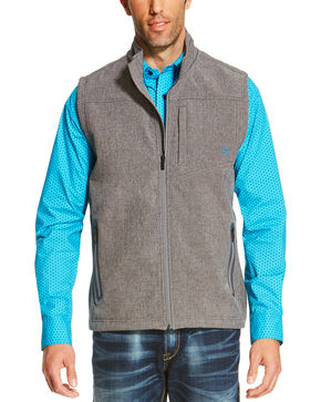Ariat Men's Charcoal Logo Softshell Vest, Charcoal, hi-res