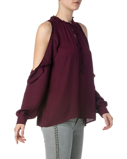 Miss Me Women's Burgundy Cold Shoulder Ruffle Blouse , Burgundy, hi-res