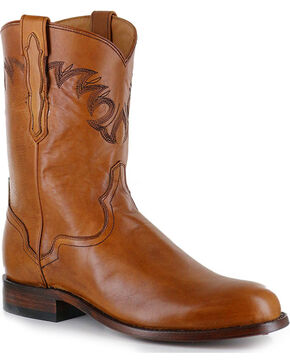 El Dorado Men's Tan Embroidered Western Boots - Round Toe , Tan, hi-res