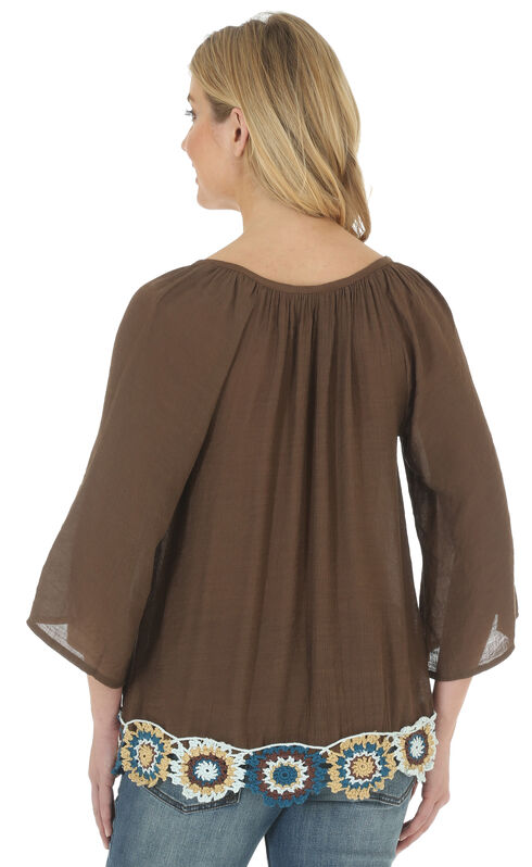 Wrangler Women's Swing Top with Braided Tie and Embroidery, Brown, hi-res