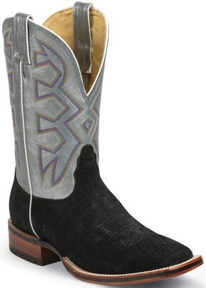 Nocona Black Hippo Print Let's Rodeo Cowboy Boots - Square Toe , Black, hi-res