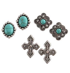 Shyanne Women's Turquoise and Silver Earrings Set , Silver, hi-res