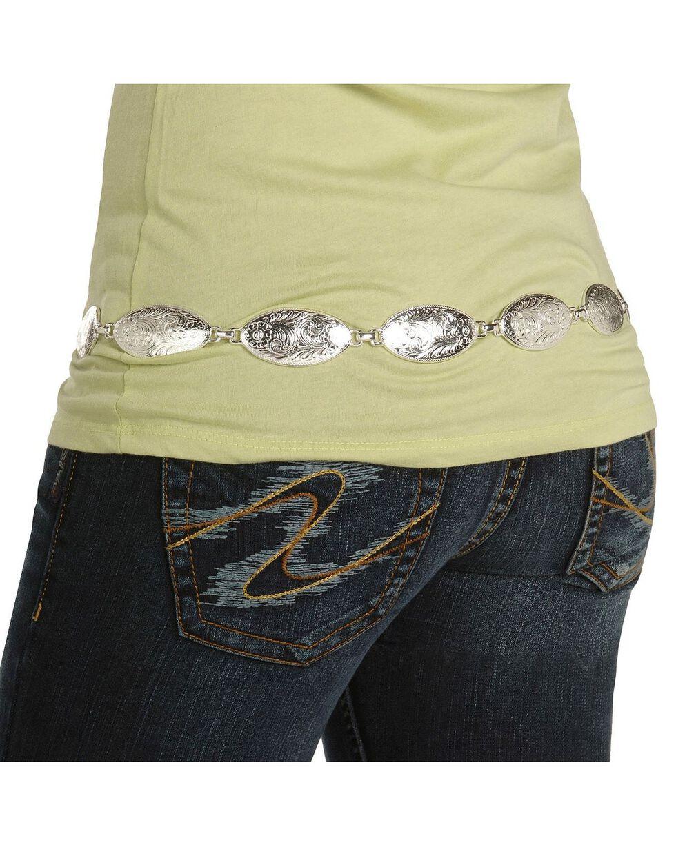 Tony Lama Concho Hip Belt, Silver, hi-res