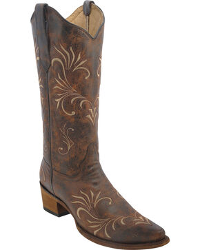 Circle G Women's Filigree Cowgirl Boots - Snip Toe, Beige, hi-res