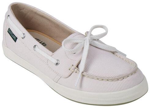Eastland Women's Camel Stripe Skip Canvas Boat Shoe Slip-Ons , Tan, hi-res