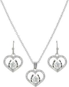 Montana Silversmiths Women's Star Of My Heart Horseshoe Jewelry Set , Silver, hi-res