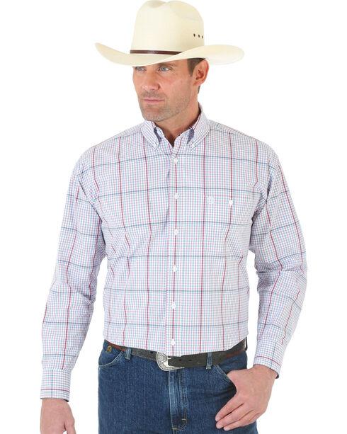 Wrangler George Strait White and Wine Plaid Poplin Shirt , White, hi-res