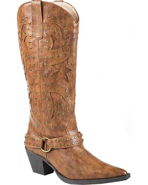 Roper Tumbled Harness Cowgirl Boots - Pointed Toe, Tan, hi-res