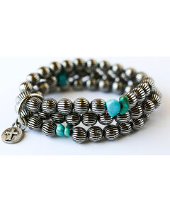 West & Co. Women's Burnished Silver Melon Bead Turquoise Bracelet, Silver, hi-res