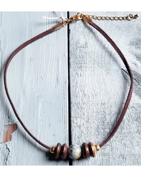 Jewelry Junkie Women's Burnished Wood on Leather Choker , Green, hi-res